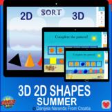 Summer 2D 3D Shapes Sorting 2d 3d Patterns Bundle Geometry Boom Cards