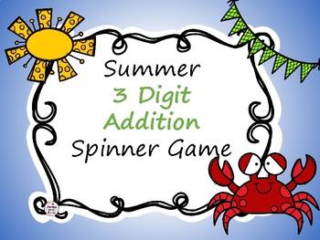Summer 3 Digit Addition Spinner Game