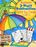 Summer 3-Digit Subtraction with Regrouping Color-by-Code P