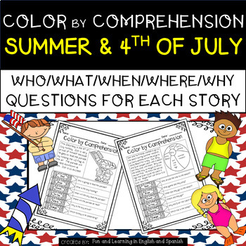 Summer & 4th of July (Color by Comprehension Stories and Questions) - 10 Stories