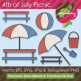 American Summer 4th of July Beach Picnic Graphics