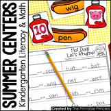 Kindergarten Summer Centers for Math and Literacy Activities