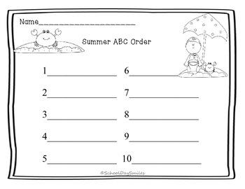 Summer ABC Order Center Freebie