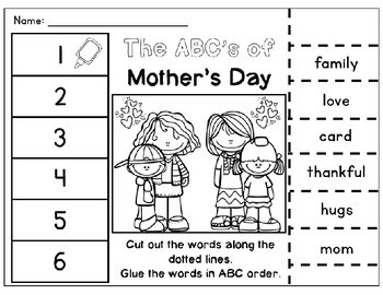 Summer ABC Order Cut & Paste Worksheets- Alphabetical Order No Prep Printables