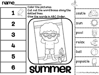 Summer ABC Order Cut and Paste Printable---FREEBIE