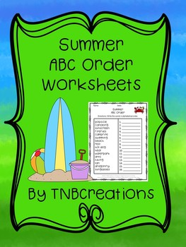 Summer ABC Order Worksheets