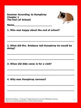 Summer According to Humphrey Literacy Unit Hamster Fun