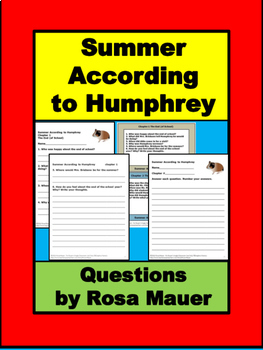 Summer According to Humphrey Literacy Unit Hamster Fun