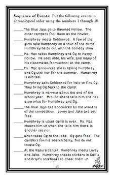 Summer According to Humphrey (Betty G. Birney) Novel Study / Comprehension