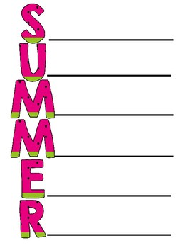 Summer Acrostic Poem ~ Creative Writing for Summer