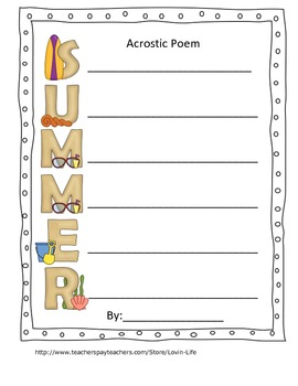End of the Year Summer Acrostic Poems