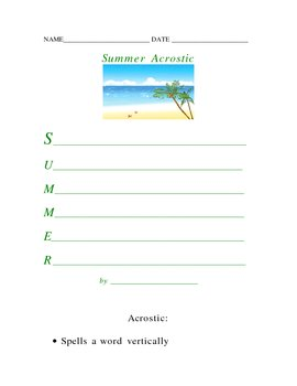 Summer Acrostic Poetry Form