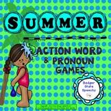 Summer  Speech Homework: Action Words & Pronouns Games!