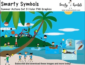Summer Actions Set: 51 PNG Images