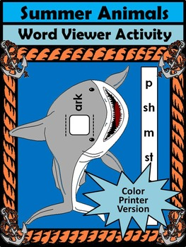 Summer Spelling Activities: Summer Animals Word Viewers