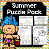 Summer Activities - Math & Literacy Puzzles | Early Finishers