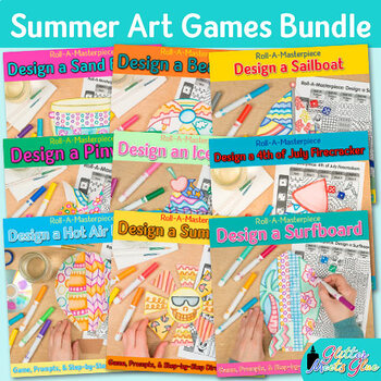 Summer Activities Bundle: Direct Drawing Games, Art Sub Plans & Writing Prompts