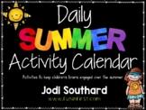 Summer Activities Calendar Freebie