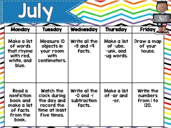 Summer Activities Calendar Freebie