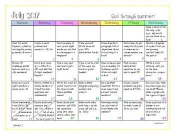 Summer Activity Calendars: June & July 2017 *Differentiated