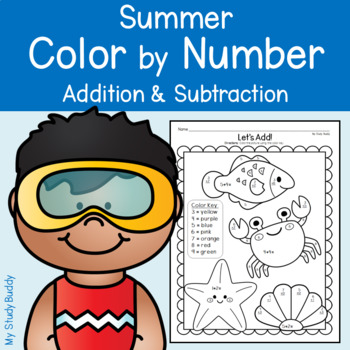 Summer Color by Number Addition & Subtraction (Summer Math)
