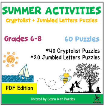 Summer Activities Cryptolists & Jumbled Letters Collection - 60 Unique Puzzles