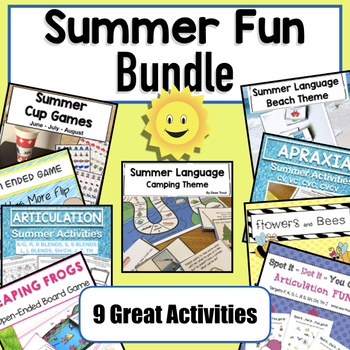 summer activities fun bundle for speech therapy tpt