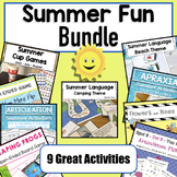 Variety Pack Summer Theme Activities & Games | Speech Therapy | BUNDLE