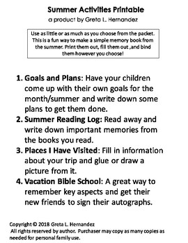 Summer Activities Memory Pages