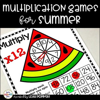 Summer Activities: Multiplication Facts Games for Review and Practice