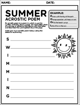 End of School Year and Summer Activities Packet