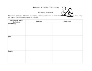 Summer Activities Vocabulary Boxes