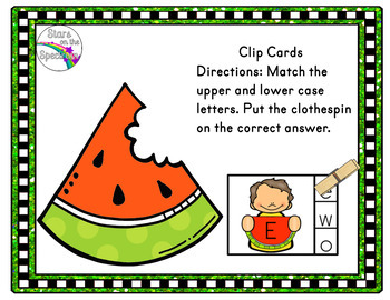 End of Year Activities Watermelon Alphabet Clip Cards