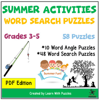 Summer Activities Word Search Puzzle Collection - 28 Unique Puzzles