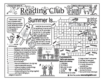 Summer Activities and Appreciation Two-Page Activity Set