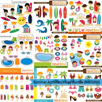 Summer Activities clip art mega bundle (9 packs) by ... (350 x 350 Pixel)