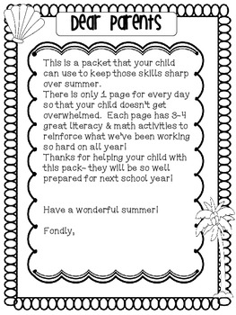 Summer Activity Book {Common Core Practice Book for K-1st}