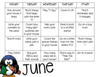 Summer Activity Calendar (English and Spanish)