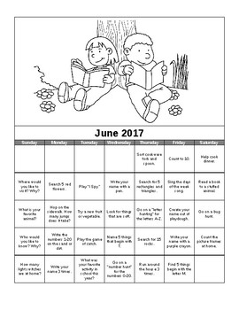 Summer Activity Calendar Preschool Spanish and English Summer Packet 2017
