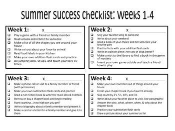 Summer Activity Calendar or Checklist {Grades 2 & 3}