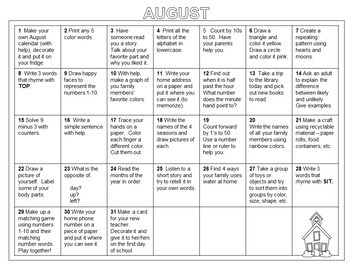 Summer Activity Calendars (First Grade)