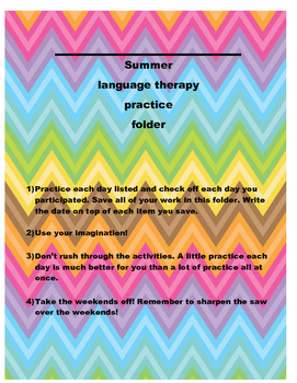 Summer Activity Folder