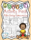 Summer Activity Pack Set K-1 Math Literacy Games Puzzles Centers Writing