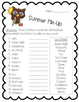 Summer Activity Pack - Math, Literacy, and Writing