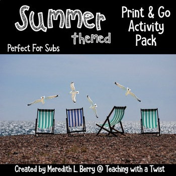 Summer Activity Pack-Perfect for Subs