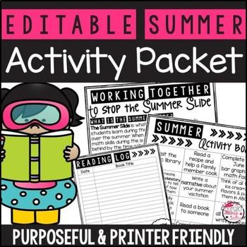 Summer Activity Packet: Editable