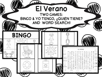 Summer Activity Set  (Black & White)- Two Games & Word Search {Spanish}