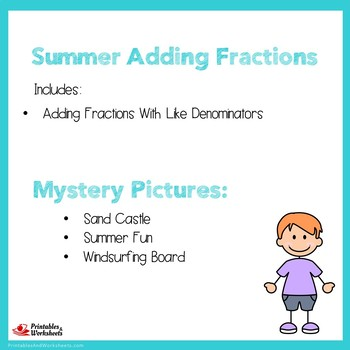 Summer Adding Fractions With Like Denominators