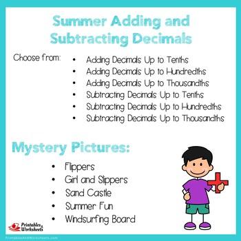 Summer Adding and Subtracting Decimals