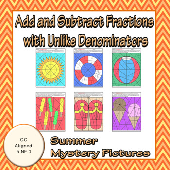 Summer Adding and Subtracting Fractions With Unlike Denominators Puzzles
